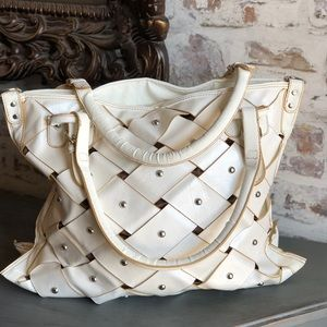 White leather studded tote big bag